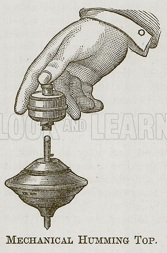 Mechanical Humming Top. Illustration for Cassell's Book of Sports and Pastimes (Cassell, c 1890).