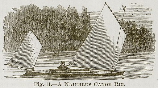 A Nautilus Canoe Rig. Illustration for Cassell's Book of Sports and Pastimes (Cassell, c 1890).