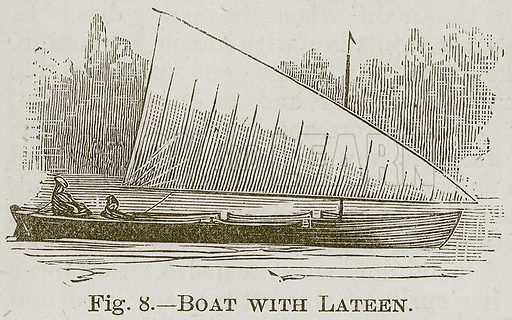 Boat with Lateen. Illustration for Cassell's Book of Sports and Pastimes (Cassell, c 1890).