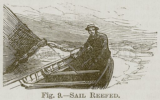 Sail Reefed. Illustration for Cassell's Book of Sports and Pastimes (Cassell, c 1890).