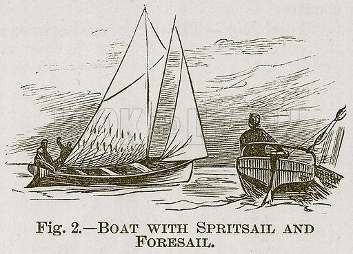Boat with Spritsail and Foresail. Illustration for Cassell's Book of Sports and Pastimes (Cassell, c 1890).