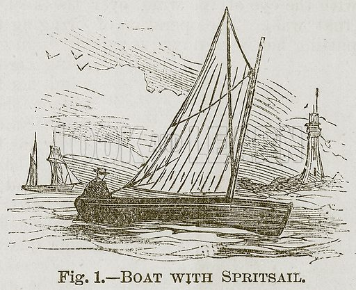 Boat with Spritsail. Illustration for Cassell's Book of Sports and Pastimes (Cassell, c 1890).