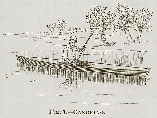 Canoeing. Illustration for Cassell's Book of Sports and Pastimes (Cassell, c 1890).