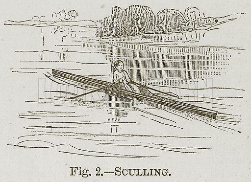 Sculling. Illustration for Cassell's Book of Sports and Pastimes (Cassell, c 1890).