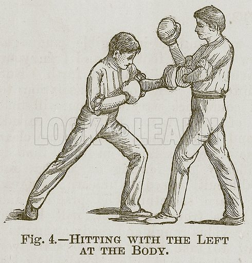 Hitting with the Left at the Body. Illustration for Cassell's Book of Sports and Pastimes (Cassell, c 1890).