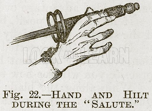 "Hand and Hilt during the ""Salute."" Illustration for Cassell's Book of Sports and Pastimes (Cassell, c 1890)."