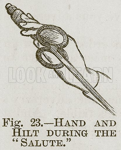 """Hand and Hilt during the """"Salute."""" Illustration for Cassell's Book of Sports and Pastimes (Cassell, c 1890)."""