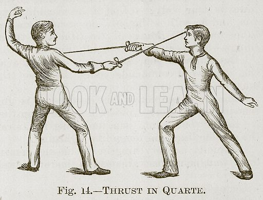 Thrust in Quarte. Illustration for Cassell's Book of Sports and Pastimes (Cassell, c 1890).