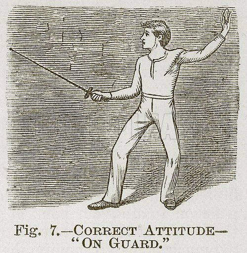 """Correct Attitude--""""On Guard."""" Illustration for Cassell's Book of Sports and Pastimes (Cassell, c 1890)."""