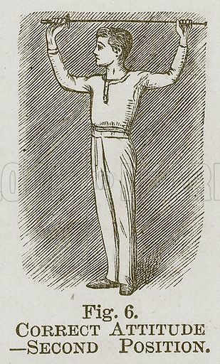 Correct Attitude--Second Position. Illustration for Cassell's Book of Sports and Pastimes (Cassell, c 1890).