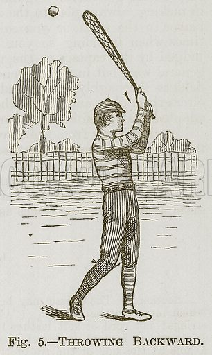 Throwing Backward. Illustration for Cassell's Book of Sports and Pastimes (Cassell, c 1890).