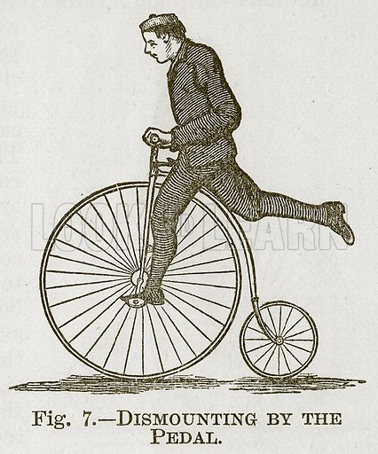 Dismounting by the Pedal. Illustration for Cassell's Book of Sports and Pastimes (Cassell, c 1890).