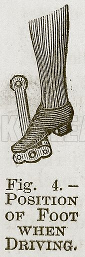Position of Foot when Driving. Illustration for Cassell's Book of Sports and Pastimes (Cassell, c 1890).