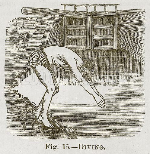 Diving. Illustration for Cassell's Book of Sports and Pastimes (Cassell, c 1890).