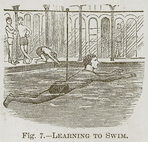 Learning to Swim. Illustration for Cassell's Book of Sports and Pastimes (Cassell, c 1890).
