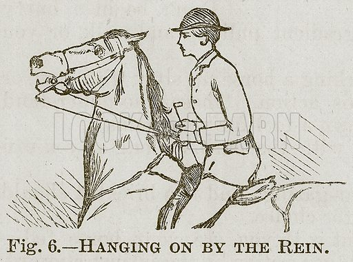 Hanging on by the Rein. Illustration for Cassell's Book of Sports and Pastimes (Cassell, c 1890).