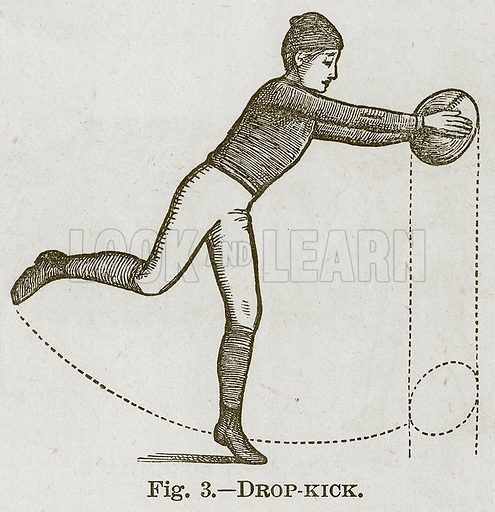 Drop-Kick. Illustration for Cassell's Book of Sports and Pastimes (Cassell, c 1890).