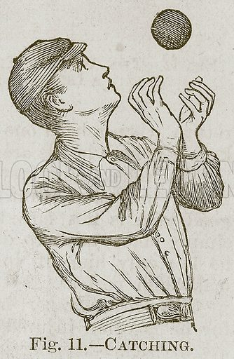 Catching. Illustration for Cassell's Book of Sports and Pastimes (Cassell, c 1890).