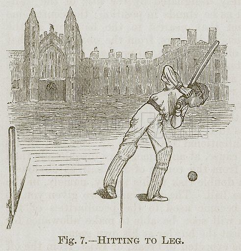 Hitting to Leg. Illustration for Cassell's Book of Sports and Pastimes (Cassell, c 1890).