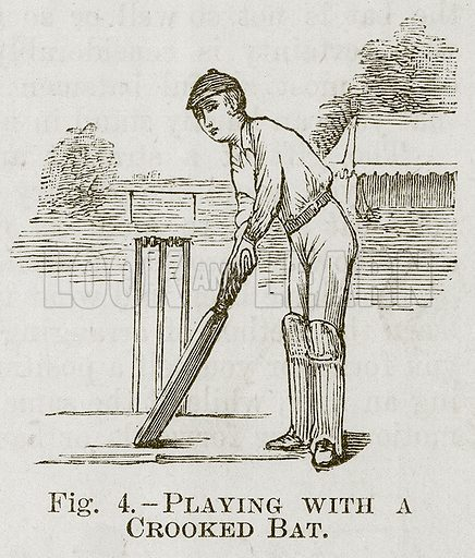 Playing with a Crooked Bat. Illustration for Cassell's Book of Sports and Pastimes (Cassell, c 1890).