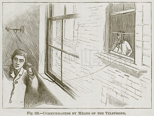 Communicating by Means of the Telephone. Illustration for Cassell's Book of Sports and Pastimes (Cassell, c 1890).