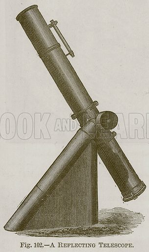A Reflecting Telescope. Illustration for Cassell's Book of Sports and Pastimes (Cassell, c 1890).