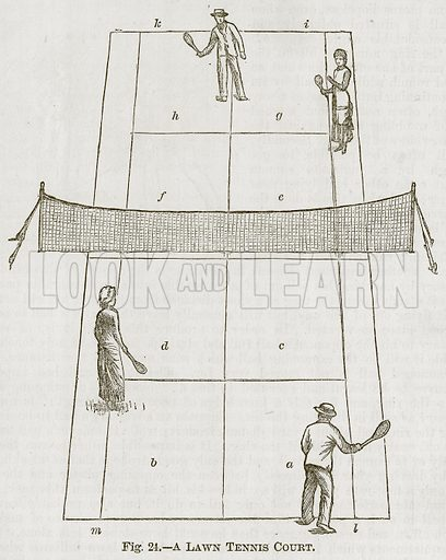A Lawn Tennis Court. Illustration for Cassell's Book of Sports and Pastimes (Cassell, c 1890).