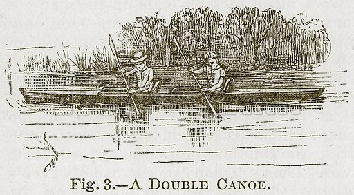 A Double Canoe. Illustration for Cassell's Book of Sports and Pastimes (Cassell, c 1890).