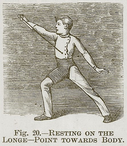 Resting on the Longe--Point towards Body. Illustration for Cassell's Book of Sports and Pastimes (Cassell, c 1890).