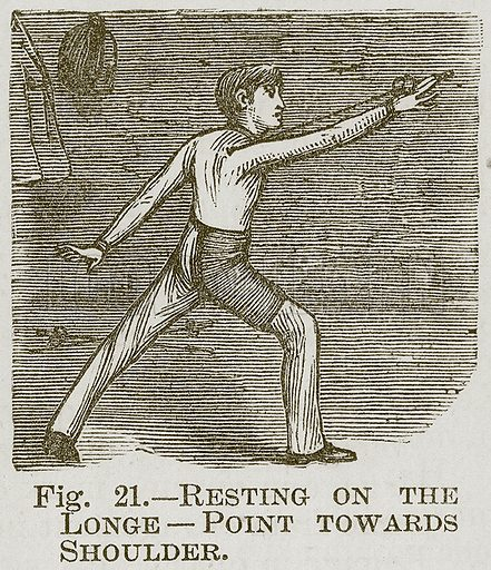 Resting on the Longe--Point towards Shoulder. Illustration for Cassell's Book of Sports and Pastimes (Cassell, c 1890).