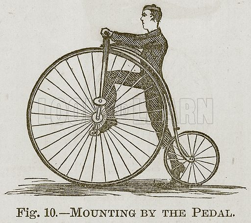 Mounting by the Pedal. Illustration for Cassell's Book of Sports and Pastimes (Cassell, c 1890).