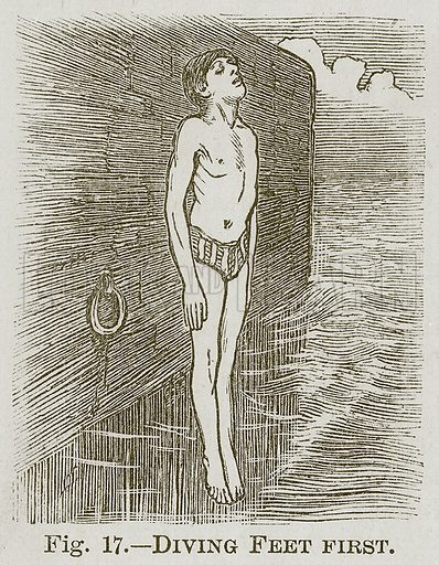 Diving Feet First. Illustration for Cassell's Book of Sports and Pastimes (Cassell, c 1890).