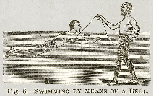 Swimming by Means of a Belt. Illustration for Cassell's Book of Sports and Pastimes (Cassell, c 1890).