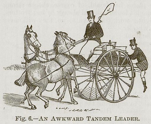 An Awkward Tandem Leader. Illustration for Cassell's Book of Sports and Pastimes (Cassell, c 1890).