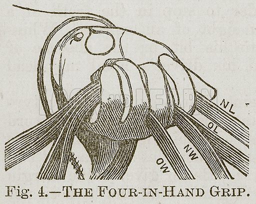 The Four-in-Hand Grip. Illustration for Cassell's Book of Sports and Pastimes (Cassell, c 1890).