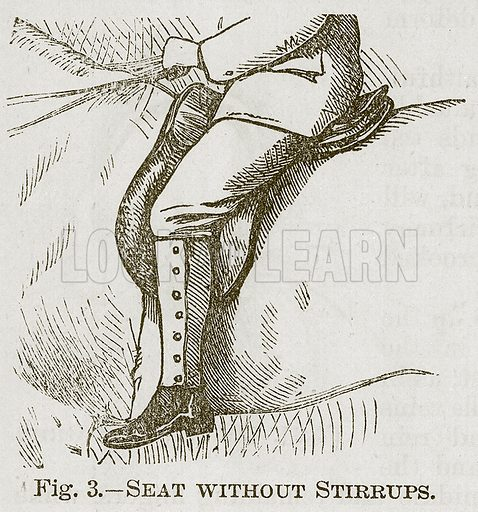 Seat without Stirrups. Illustration for Cassell's Book of Sports and Pastimes (Cassell, c 1890).