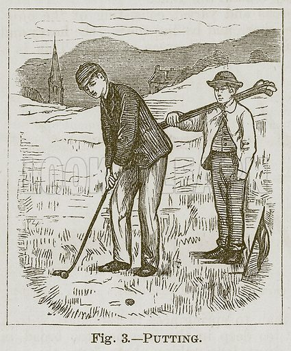Putting. Illustration for Cassell's Book of Sports and Pastimes (Cassell, c 1890).