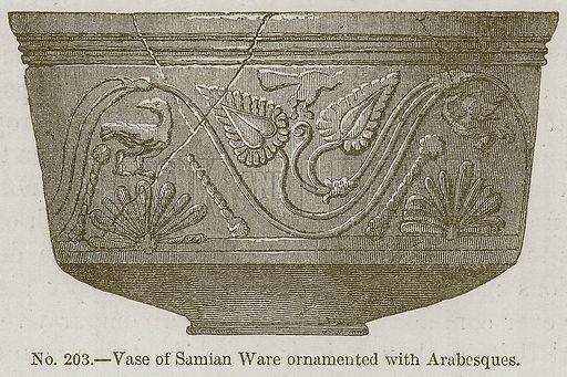 Vase of Samian Ornamented with Arabesques. Illustration for History of Ancient Pottery by Samuel Birch (John Murray, 1873).