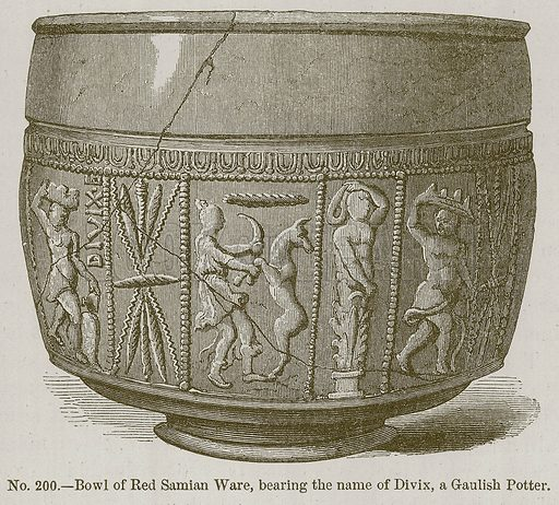 Bowl of Red Samian Ware, Bearing the Name of Divix, a Gaulish Potter. Illustration for History of Ancient Pottery by Samuel Birch (John Murray, 1873).