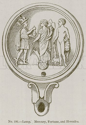Lamp. Mercury, Fortune, and Hercules. Illustration for History of Ancient Pottery by Samuel Birch (John Murray, 1873).