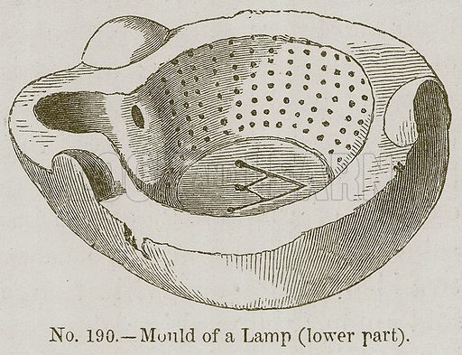 Mould of a Lamp (Lower Part). Illustration for History of Ancient Pottery by Samuel Birch (John Murray, 1873).
