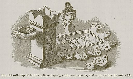 Group of Lamps (Altar-Shaped), with many Spouts, and Ordinary one for one Wick. Illustration for History of Ancient Pottery by Samuel Birch (John Murray, 1873).
