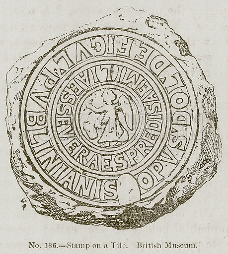 Stamp on a Tile. British Museum. Illustration for History of Ancient Pottery by Samuel Birch (John Murray, 1873).