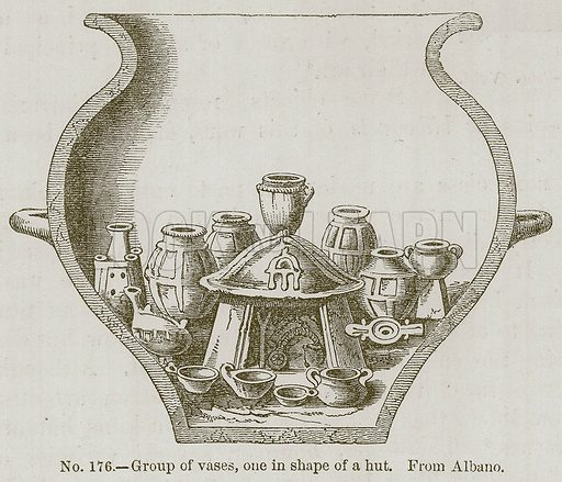 Group of Vases, one in Shape of a Hut. Illustration for History of Ancient Pottery by Samuel Birch (John Murray, 1873).
