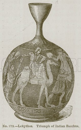 Lekythos. Triumph of Indian Bacchus. Illustration for History of Ancient Pottery by Samuel Birch (John Murray, 1873).