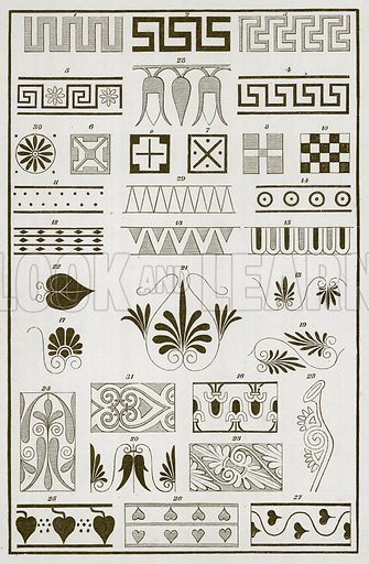 Greek Border Designs. Illustration for History of Ancient Pottery by Samuel Birch (John Murray, 1873).