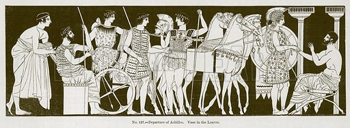 Departure of Achilles. Vase in the Louvre. Illustration for History of Ancient Pottery by Samuel Birch (John Murray, 1873).