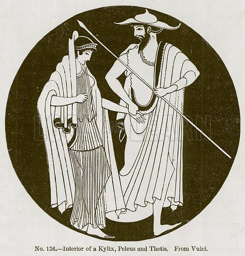 Interior of a Kylix, Peleus and Thetis. Illustration for History of Ancient Pottery by Samuel Birch (John Murray, 1873).