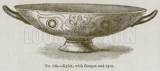 Kylix, with Gorgon and Eyes. Illustration for History of Ancient Pottery by Samuel Birch (John Murray, 1873).
