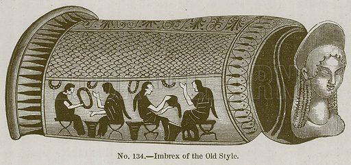 Imbrex of the Old Style. Illustration for History of Ancient Pottery by Samuel Birch (John Murray, 1873).